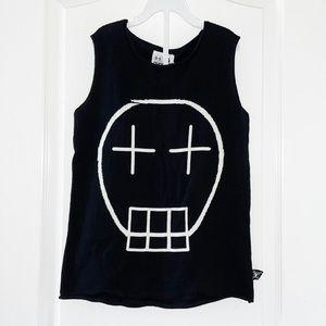 NUNUNU Light Knit Skull Tank Top Black Size 8-9Y